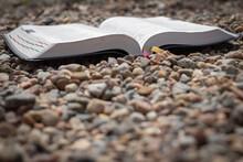 Open Bible On Stones
