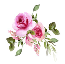 Watercolor Rose Flowers Wreath. Floral Bouquet For DIY Arrangements, Wedding Invitations, Anniversary, Birthday, Postcards, Greetings, Cards, Logo. Botanical Hand Painted Illustration