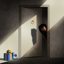 A Young Woman Peeks Out From Her Apartment Door And Will Soon Notice An Unexpected Gift Left For Her And It Is A Golden Retreiver Puppy In A Gift Box. This Is A 3-d Illustration.