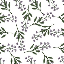 Seamless Pattern Of Purple Wildflower For Fabric Design