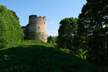 Koporye Fortress In Summer. Monument Of Russian Medieval Defensive Architecture