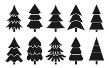 Tree Various Christmas Black Silhouette Glyph Set On The White Background. Minimalistic Simple Thin White Line Icons. Shape With Corners, Soft Lines And Rounded. For Gift Paper, Decoration Element