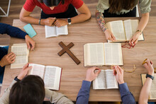 Diverse Women And Men Saying Their Prayers