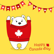 Happy Canada Day Card. Cartoon Polar Bear In Sweater, Garland Bunting Flag. Greeting Postal Postcard. National Celebration Canadian Pullover Flag, Patriot Bear Character. Isolated Vector Illustration