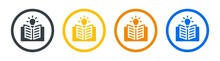 Opened Book With Light Bulb Icon Vector Illustration. Knowledge Concept