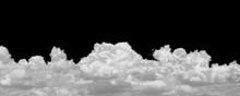 Large White Clouds On Black Horizontal, Isolated