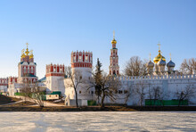 View Of The Fortress Walls And Temples Of The Novodevichy Monastery With Golden Domes In Moscow, Russia