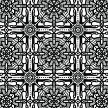 White Black Flower  Fabric Pattern
