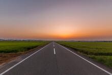 夏の夕暮れ、田舎の一本道を散歩しよう
