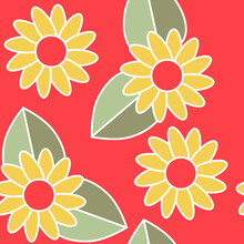 Seamless Pattern Of Abstract Yellow Flowers On A Red Background For Textile.