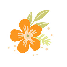 Floral Set Based On Traditional Folk Art Ornaments. Isolated Orange And Green Flowers. Scandinavian Style. Sweden Nordic Style. Vector Illustration. Simple Minimalistic Nature Element