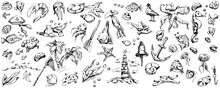 Set Of Nautical Drawings By Hand On An Isolated White Background. Creative Flyer Or Poster. Graphic Vector Illustration.