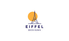 Lines  Eiffel Tower With Sunset Logo Vector Icon Illustration Design