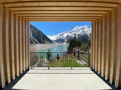 Obraz na plátně Staudamm Stausee Schlegeisspeicher nahe Mayrhofen Tux in den Tuxer Alpen Tirol Z