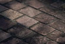 Brick Floor.Dark Wall Paper.