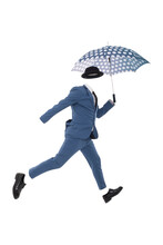 Ghost Of Man Jump With Umbrella. White Background