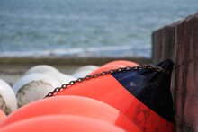 Many Red And White Buoys At List Sylt