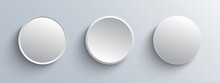 Circle Buttons White And Gray, 3D Navigation  Panel For Website, Editable Vector Illustration.