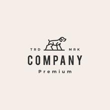 Dog Monoline Outline Hipster Vintage Logo Vector Icon Illustration