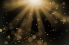 水中でキラキラ光輝く水滴と光の背景