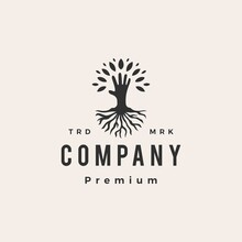 Hand Tree Root Hipster Vintage Logo Vector Icon Illustration