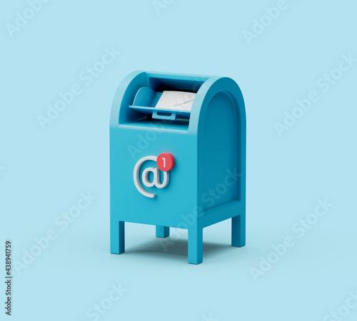 Obraz na plátně Simple postbox icon 3d render illustration in pastel blue background