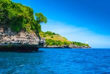 Nusa Penida Island Rocky Coast Line, Bali Indonesia, Sunny Day Landscape