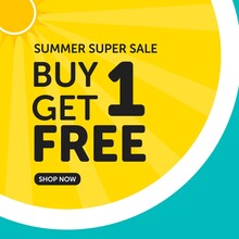 Summer Super Sale Buy One Get One Free Banner Design Template.