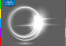 Circular Lens Flare Transparent Light Effect. Abstract Ellipse White Luxury Shining Rotational Glow Line. Power Energy Element. Glowing Ring Trace Background. Round Shiny Vector Circle Swirl Trail