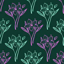 Narcissus Or Lily Summer Flower Pink Mint Seamless Vector Pattern In Hand Drawn Style. Lily Isolated Flowers, Garden Summer Blossom Organic Seamless Pattern. Lilies Blossom Black White Floral Design