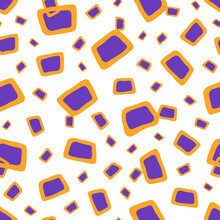 Seamless Geometric Pattern With Purple Rectangle Elements With Yellow Thick Strokes, Different Sizes, On A White Isolated Background.