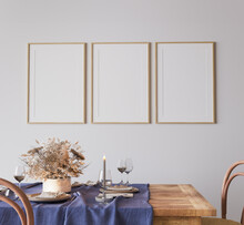 Minimal Farmhouse Dining Room Interior, Beige Mockup Frame, 3d Render