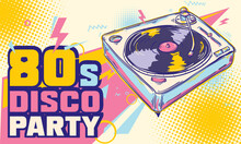 80s Disco Party - Funky Colorful Turntable Musical Design