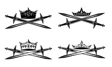 King Crown And Crossed Swords - Black And White Vector Heraldic Design Set Of Medieval Style Royal Emblems