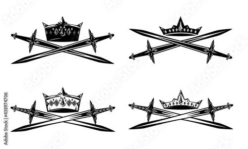 Tela king crown and crossed swords - black and white vector heraldic design set of me