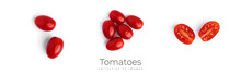 Fresh Cherry Tomatoes With Water Drops On A White Background.