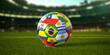 Leinwandbild Motiv Soccer Football ball with flags of south america countries on the grass of football stadium. America championship 2021.