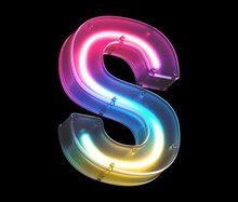 Glowing Neon Under Matte Glass. Font. Letter S.