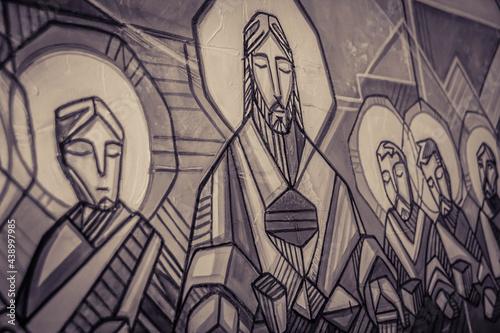 Jesus Christ and disciples at Last supper Fotobehang