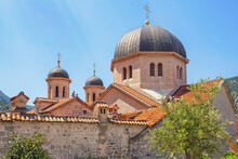 Religious Architecture. Montenegro, Old Town Of Kotor - UNESCO World Heritage Site.   Domes Of Church Of St. Nicholas, View From Town Wall