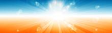 Sunny Sky Abstract Vector Background With Sun Rays Burst