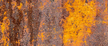 Rusty Metal Texture. Background Of Peeling Paint And Rusty Old Metal. Metal Texture With Scratches And Cracks As A Background