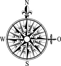 Old Navy Map Symbol. Wind Rose And Rhumb Of North, East, South And West. Vintage Nautical Compass With Cardinal Directions Vector Of Navigation Antique Cartography Black On White Background Isolated
