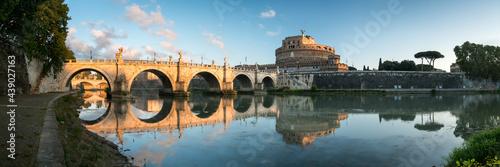 Obraz na plátně Castel Sant'Angelo and Ponte Sant'Angelo panorama, Rome, Italy