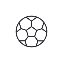Soccer Ball Icon Symbol Sign Vector. Football Or Soccer Ball Outline Icon On White. Flat Vector Icon For Sports Apps And Websites