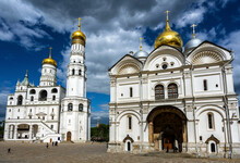 Archangel Cathedral And Ivan The Great Bell Tower At Moscow Kremlin, Russia