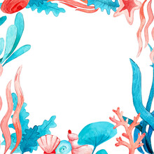 Sealife Watercolor Frame. Seaweed, Seashell, Starfish, Algae Hand Drawn Elements. Blue And Pink Colorful Background For Summer. Marine Undersea Theme. Printable Clipart For Decoration.