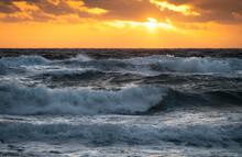 USA, Florida, Boca Raton, Sea Waves At Sunrise