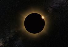Moon Eclipse On Dark Sky