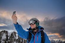 France, Haute Savoie, Chamonix, Mont Blanc, Skier Taking Selfie In Mountains